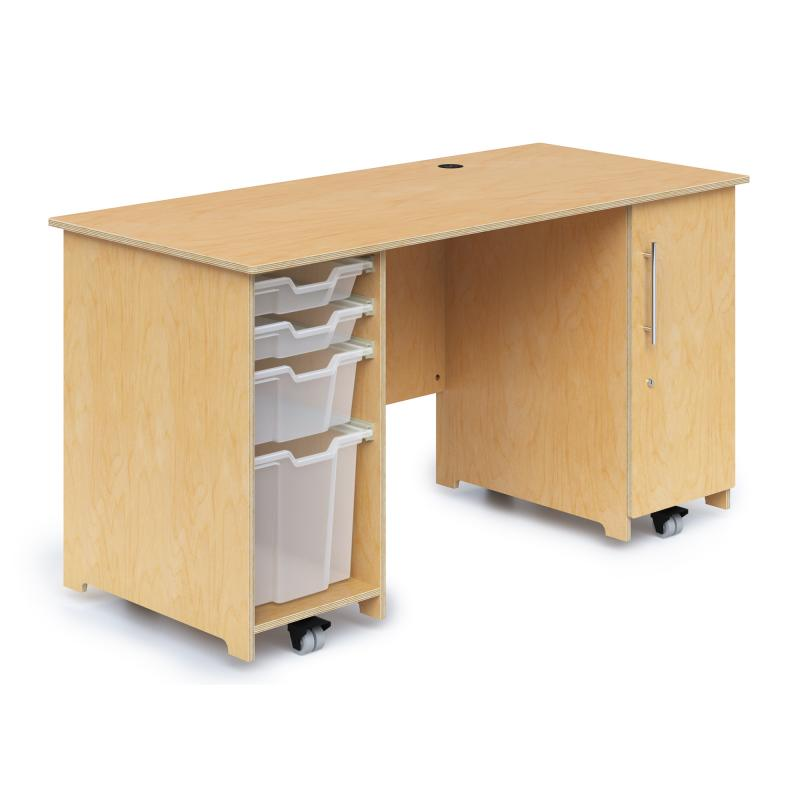 WB1809 - Teachers Desk With Trays & Locking Door
