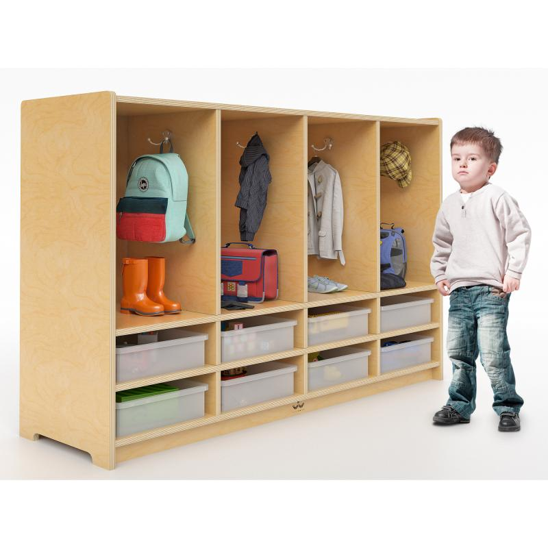WB3404 - Toddler Eight Section Coat Locker With Trays