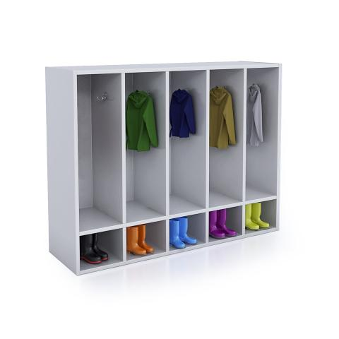 WB0659 - Whitney White Five Section Coat Locker