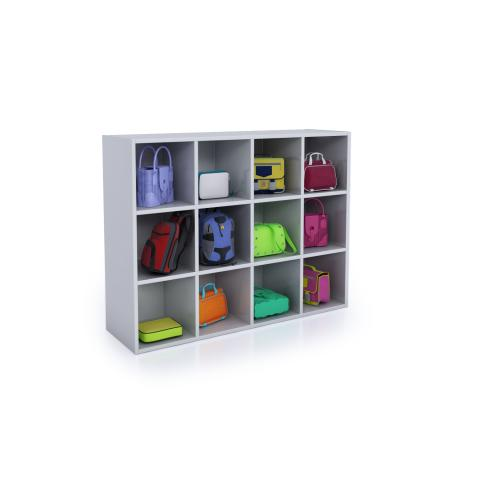 WB0661 - Whitney White 12 Cubby Backpack Storage Cabinet