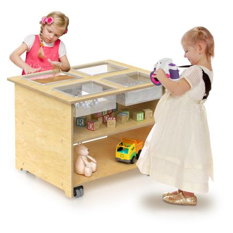 WB1775 - Mobile Sensory Table With Trays & Lids