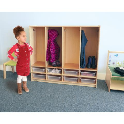 WB3904 - Preschool 8 Section Coat Locker W/Trays