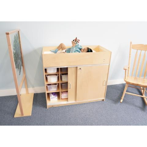 WB0688 - EZ Clean Birch Changing Cabinet w/Trays