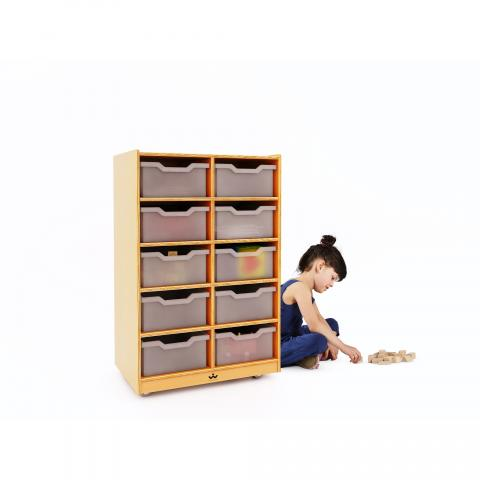 WB1671 - 10 Cubby Mobile Tray Storage Cabinet