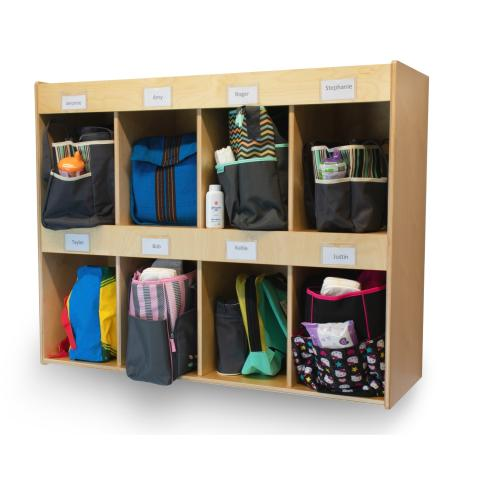 Diaper Bag Storage Cabinet filled